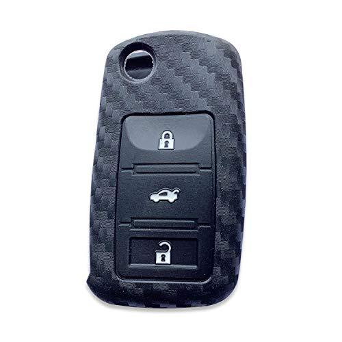 Funda llave coche compatible con Volkswagen VW, Funda para llave de coche fibra de carbono silicona con 3 botones compatible con Volkswagen VW Golf Bora Jetta Beetle POLO Passat Skoda Octavia Tiguan