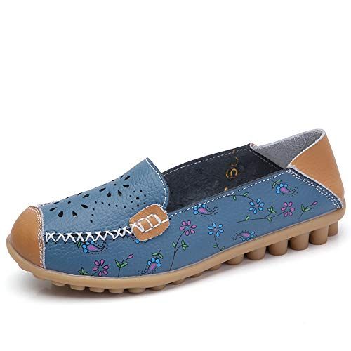 Luckhome Damen Mokassins Bootsschuhe Leder Loafers Freizeit Schuhe Flache Fahren Halbschuhe Slippers Frauen-Beiläufige Gestickte Weiche Untere Leichte Erbsen-Bootsschuhe Im Freien(Blau,EU: 35)