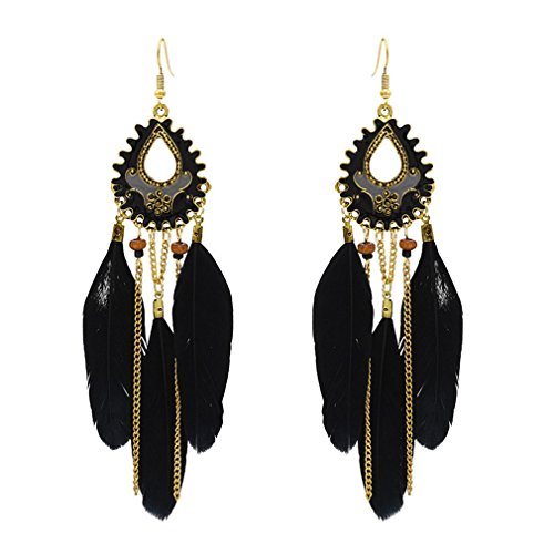 Yazilind mujeres gota cuelgan pendientes boho pluma lágrima cadena borla perlas gancho pendientes declaración vintage étnico