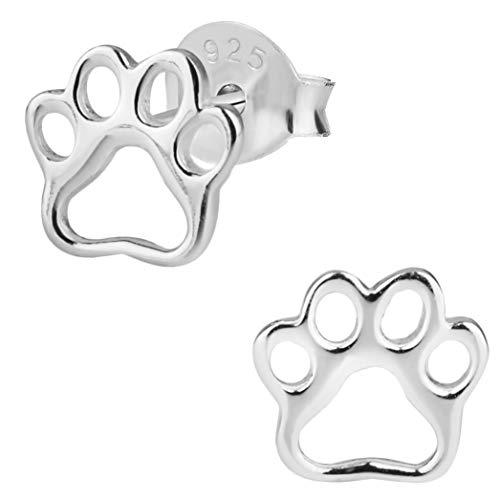 Hypoallergenic Sterling Silver Puppy Paw Print Stud Earrings for Kids (Nickel Free)