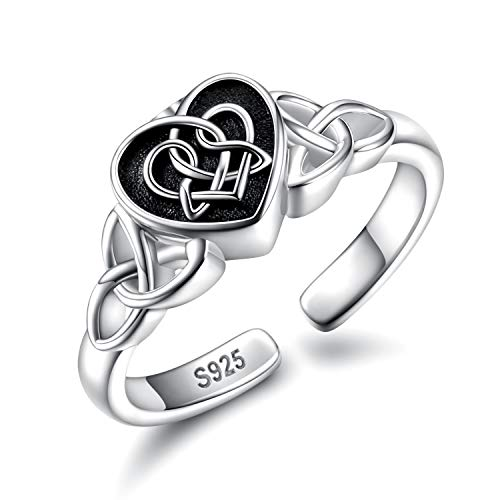 Urn Ring Cremation Jewelry for Ashes - 925 Sterling Silver Infinity Heart Memorial Souvenir Keepsake Ring Hold Loved Ones Ashes for Women (Black)