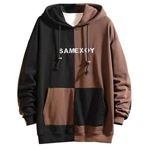 Kapuzenpullover Herren Casual für Pullover für Herren, Holeider Basic Kapuzen-Sweatshirt Langarm Hoodie für Herren Herbst Winter Farbnähte Mode Streetwear