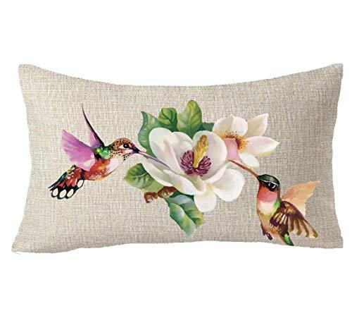 Mesllings - Funda de cojín de algodón y lino para acuarela, diseño de pájaro, colibrí, flores, primavera, verano, para regalo
