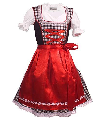 Kiddy Tracht Trachtenkleid 3tlg. Kinder Dirndl Mädchen Kleid Gr. 92,104,116,128,140,146,152, Schwarz Weis Kariert, 140