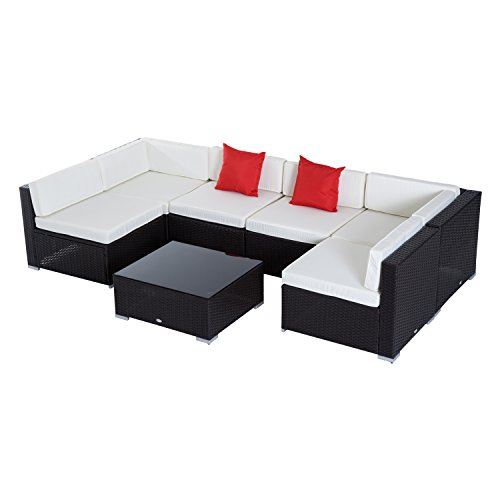 Outsunny 7pc Garden Wicker Sectional Set Patio Rattan Lounge Sofa with  Cushion Outdoor Furniture All Weather Dark Coffee