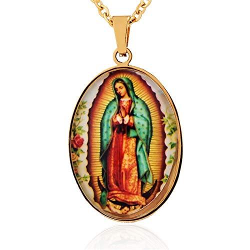 DADATU Collar Hombre Virgen Católica María Colgante Acero Inoxidable Rosario Nuestra Señora De Guadalupe Medalla Virgen María Collar para Mujeres Hombres Joyería