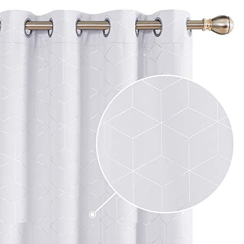 Deconovo Cortinas Opacas Diseño Rombo Plateadas para habitación con Ojales 2 Piezas 132x183cm Gris Blanco