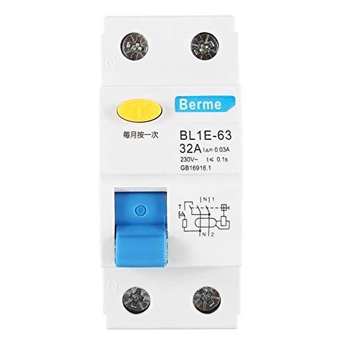 Fehlerstromschutzschalter BL1E-63 32A 1P + N FI-Schutzschalter 230V 30mA Überlastschutz gegen Leckage