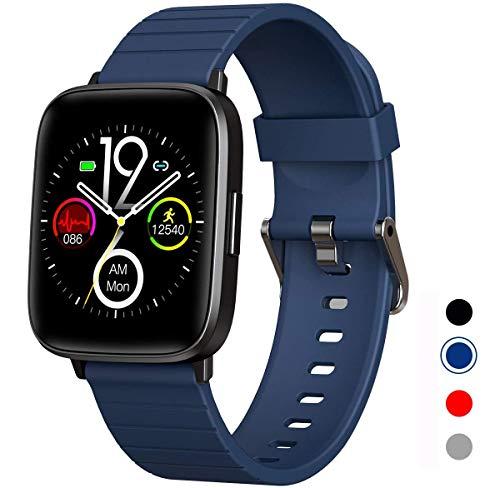 DOOK Smartwatch, Reloj Inteligente Impermeable IP68 para Hombre Mujer niños, Pulsera de Actividad Inteligente con Monitor de Sueño Contador de Caloría Pulsómetros Podómetro para Android iOS,Azul