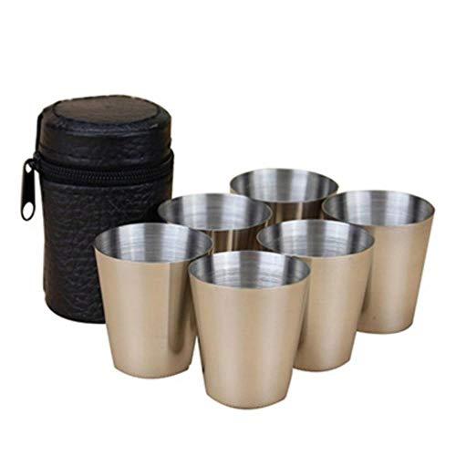 4/6 Unids/set Viaje al aire libre Práctico Vasos de acero inoxidable Shots Set Vasos para Whisky Wine 30ml Set portátil con estuche Ideal, 6pcs, Estados Unidos