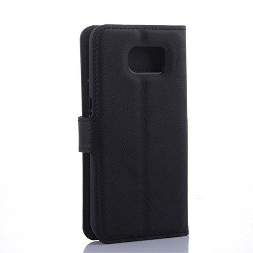 COPHONE® Funda de Cuero Negro Samsung Galaxy S6 Edge Plus. Funda Protectora Funda Monedero Negro Galaxy S6 Edge Plus. Carcasa Magnético Galaxy S6 Edge Plus