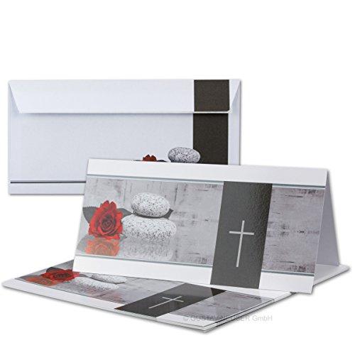100 x rouwset // dubbele rouwkaarten met enveloppen DIN lang 21 x 19,8 cm // hoogglans // Serie: Mathilde