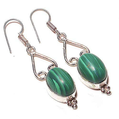 Green MALACHITE Handmade EARRING 2' Long Silver Plated! Jewelry from...