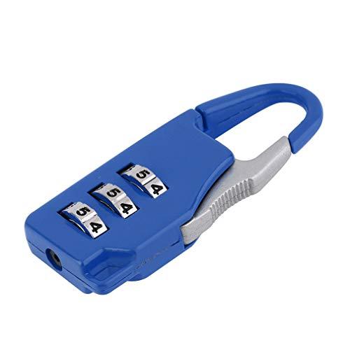 1 Pieza New Security 3 Combinación de Viaje de aleación de Zinc Maleta de Equipaje Bolsa Cajas de joyería Cofres de Herramientas Bloqueo de código Candado con Cremallera (Azul)