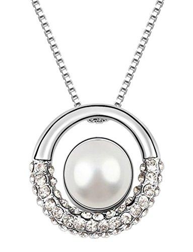Quadiva C! Collana da donna con ciondolo di perle (colore: oro bianco e bianco) decorata con una perla e cristalli scintillanti di Swarovski®