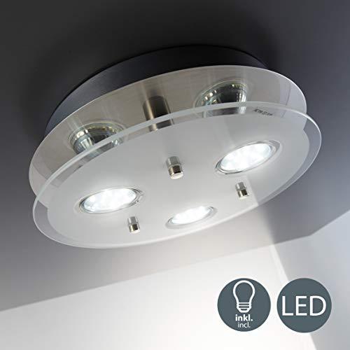 B.K.Licht - Lámpara plafón LED con forma redonda, 3 focos