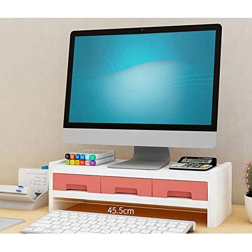 TopJiä 2 Nivel Elevador del Monitor,TV Pc Ordenador Ordenador Portátil Soporte para Monitor Escritorio Almacenamiento Organizador con 3 Cajón Naranja 50x22.5x14cm(19.7x8.9x5.5)