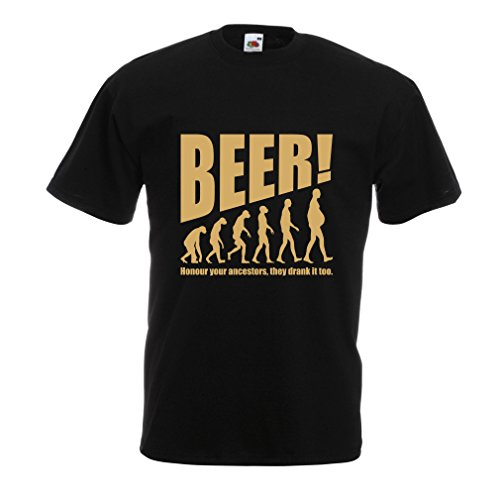 T-Shirt pour Hommes The Beervolution - des idées de Cadeaux sarcastiques Uniques pour Les Amateurs de bière, lévolution de la Boisson (XX-Large Noir Or)