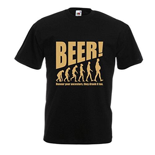 lepni.me Camisetas Hombre The Beervolution - Ideas Divertidas únicas sarcásticas del Regalo para los Amantes de la Cerveza, evolución de consumición (Large Negro Oro)