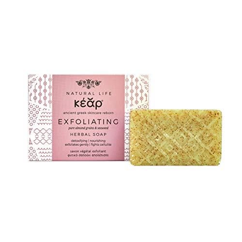 Kear Savon Exfoliant aux Algues et Amandes, Savon Gommage, Cellulite, Savon Beauté Antioxydant, Barre 100g