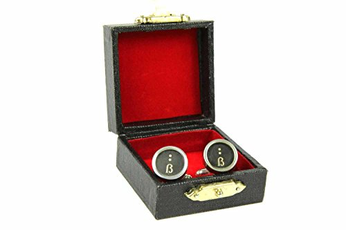 Miniblings Eszett Buchstabe Schreibmaschine Manschettenknöpfe - Handmade Modeschmuck I Manschettenknopf Cufflinks Hemdknöpfe I schöne Holzbox inklusive - Eszett Buchstabe Schreibmaschine