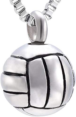 Cremation Memorial Jewelry Volleyball Charm Colgante Collar de urna de recuerdo de acero inoxidable para cenizas