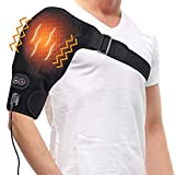 Heated Massage Shoulder Brace, 3 Vibration & Heat Settings, Adjustable Heating Shoulder Pad with Hot and Cold Therapy for Rotator Cuff, Frozen Shoulder, Shoulder Dislocation or Muscles Pain Relief (S)