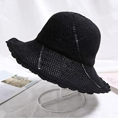 SJQ Sombrero de Sol de Verano Plegable para niñas, Sombreros de Cubo Casuales para Mujer, Sombrero de Pescador Tejido con Calado acrílico para Mujer, Gorras de ala Grande con Flores
