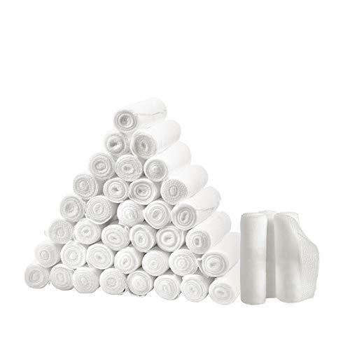 m zimoon 36 Stück Mullbindenrolle, Medizinische Qualität Sterile Gaze Stretch Notfall Wund Pflege Baumwolle Verband, 2,95 Zoll x 4,92 Yards (7,5 cm x 4,5 m)