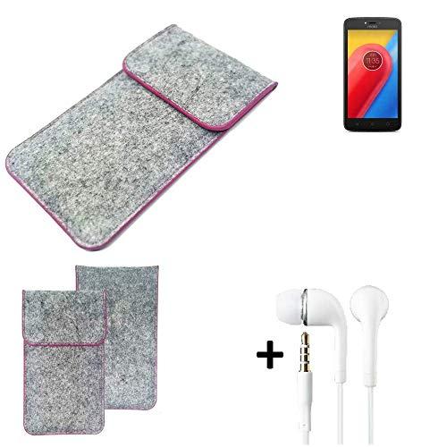 K-S-Trade Filz Schutz Hülle Für Lenovo Moto C LTE Schutzhülle Filztasche Pouch Tasche Hülle Sleeve Handyhülle Filzhülle Hellgrau Pinker Rand + Kopfhörer