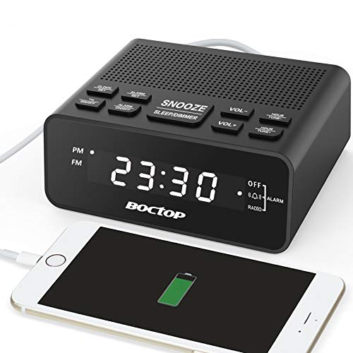 "BOCTOP Digital Alarm Clock Radio with USB Charger, 0.6"" Digits Dimmer LED Display, FM Radio with Sleep Timer, Easy Snooze for Bedrooms-Outlet Powered"