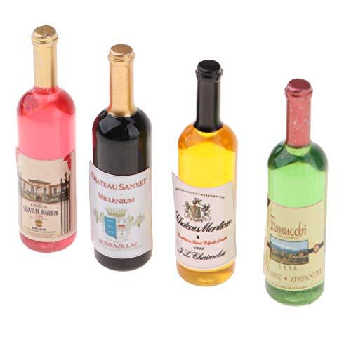 F Fityle Botellas de Vino de Cóctel en Miniatura de Casa de Muñecas Coloridas para Decoración de Bar de Muñecas, Cocina, Comedor (Paquete de 4)