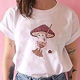 ZYuLi Camisa de Setas de la Rana Camiseta de Las Mujeres Y2K Fashion Dibujos Animados Linda Camisetas para Las Muchachas Verano Casual American Harajuku tee Shirt Femme