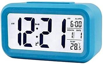 KWT Digital Smart Backlight Alarm Clock with Automatic Sensor,Date & Temperature, Alarm Clocks for Bedroom, Digital Clock with Alarm,for Students,for Desk, for Table (Blue)