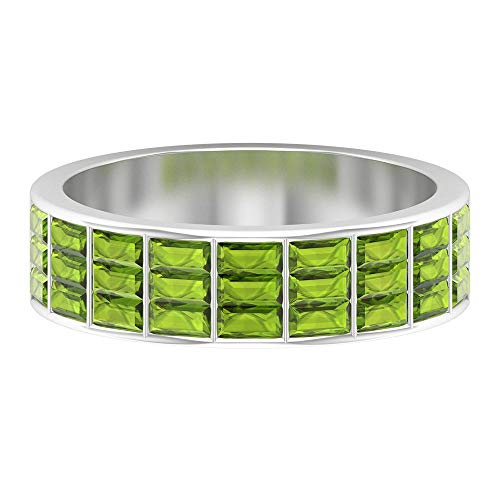 Eternity Wedding Ring, Thick Ring, 1.6 CT Baguette Cut Peridot Ring, August Birthstone Ring, Anniversary Ring, Bridesmaid Ring, Statement Ring, 14K White Gold, Size:UK V1/2
