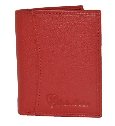 Conte Massimo, tarjetero, tarjetero en cuero azul eléctrico real para hombre y mujer, con bolsillo para billetes, pequeño y delgado, mini cartera Rojo -