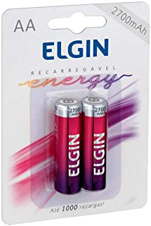 Pilha Recarregável Ni-MH AA-2700mAh blister com 2 pilhas, Elgin, Baterias
