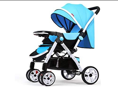 Kit de coche de bebé recién nacido JMY-001 bi-cochecito plegado es adecuado para niños de 0-3 años trolleys,Blue