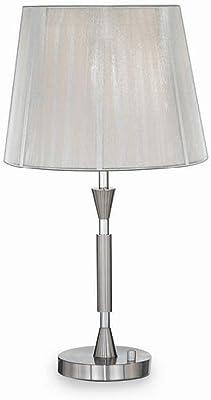 Ideal Lux PARIS TL1BIG E27Argent Lampe de Table–Lampes de bureau (Argent, Métal, Chlorure de vinyle, chambre, iP20, E27, 1ampoule (s))