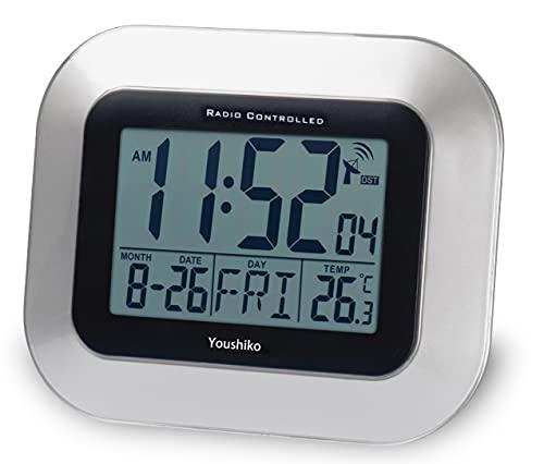 Youshiko Radio Controlled LCD Wall Mountable and Desk Clock (UK & Ireland Version) Jumbo LCD (Silver)
