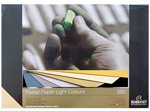 Papel en colores pastel REMBRANDT, colores claros secos en colores pastel, 21 x 29,7 cm, 160 g, 6 colores, 30 hojas (Francia Import) Espacebeauxarts