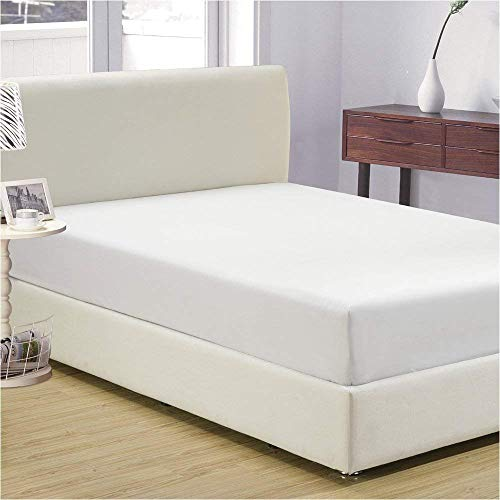 """600-thread-count Egyptian Cotton Super Soft 1 PC Fitted Sheet/Bottom Sheet Twin Extra Long Solid White Fit up to 15"""" Inches Deep Pocket Fully Elastic"""