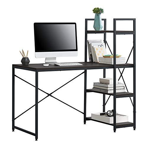 [en.casa] Stavanger biurko z regałem, stół biurowy, 122 x 120 x 64 cm, stolik pod komputer z metalową ramą, stół roboczy z półką do odkładania na PC, kolor czarny orzecha włoskiego
