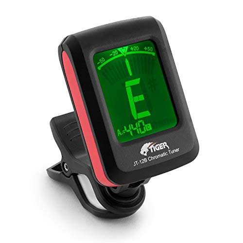 Tiger Music Chromatic Guitar Tuner - easy To Use Highly Accurate Clip-On Tuner - Suitable For Guitar / Bass / Violin / Ukulele - Batteria Inclusa, Nero