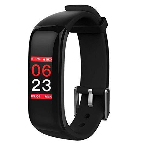 BINDEN Smartband P1 Plus con Pantalla a Color, Monitor de Ritmo Cardíaco y Presión Arterial, Resistencia IP67 contra el Agua, Notificaciones Compatibles con iOS y Android - Neg