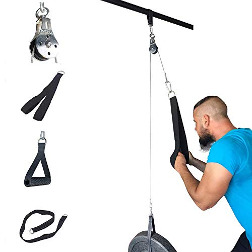 Ulalov DIY Pulley Cable Machine Attachment System Length Adjustable Sets with Loading Pin Triceps Strap,Pulley System for Exercise, at Home Gym Workout Accessories Professional Fitness Equipment Lat Pull Down Strength Training Arm Strengthen