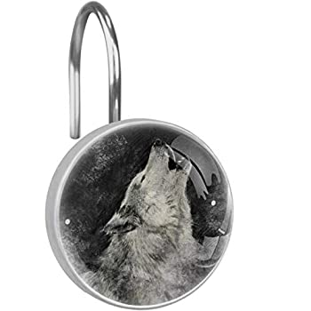 LORVIES Howling Wolf Black and White Painting Shower Curtain Hooks Set of 12 Stainless Steel Shower Hooks Decorative Hanger Rings Rust Resistant for Bathroom Kids Room Fashion Home Decor