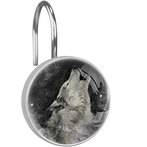 LORVIES Howling Wolf Black and White Painting Shower Curtain Hooks Set of 12, Stainless Steel Shower Hooks Decorative Hanger Rings Rust Resistant for Bathroom Kids Room Fashion Home Decor
