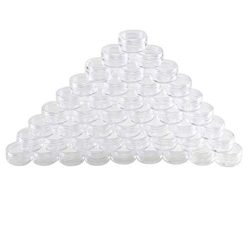 lzndeal 48 PCs Set 2.5 Pots cosmétiques vides transparents flacons échantillon cosmétique pour paillettes/nail art/crème