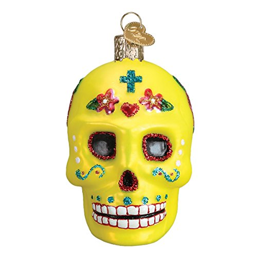 Old World Christmas Halloween Decorations Glass Blown Ornaments for Christmas Tree Sugar Skull